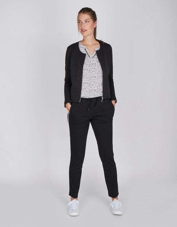 Via Cortesa Sweat-Jacke mit Streifen-Struktur und Reißverschluss | ADLER Mode Onlineshop