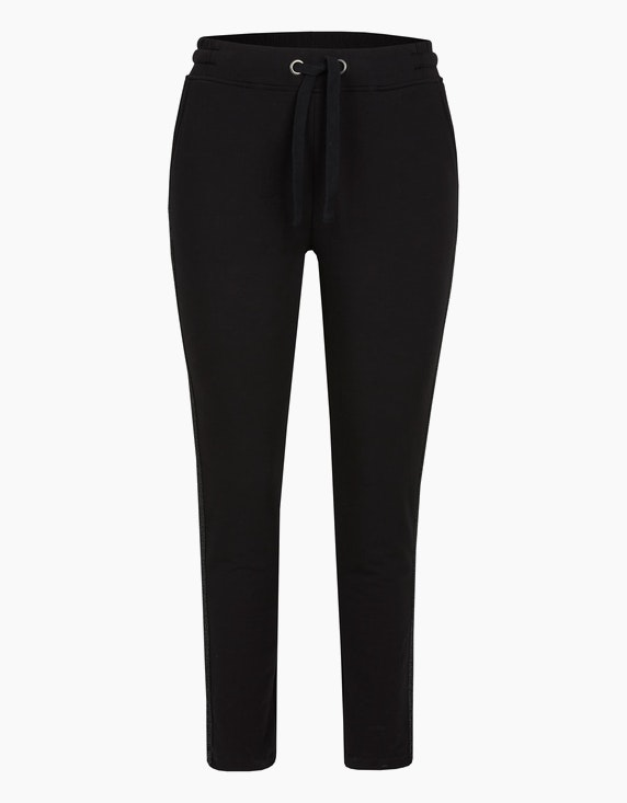 Via Cortesa Jersey-Joggpants mit Galonstreifen in Schwarz | ADLER Mode Onlineshop