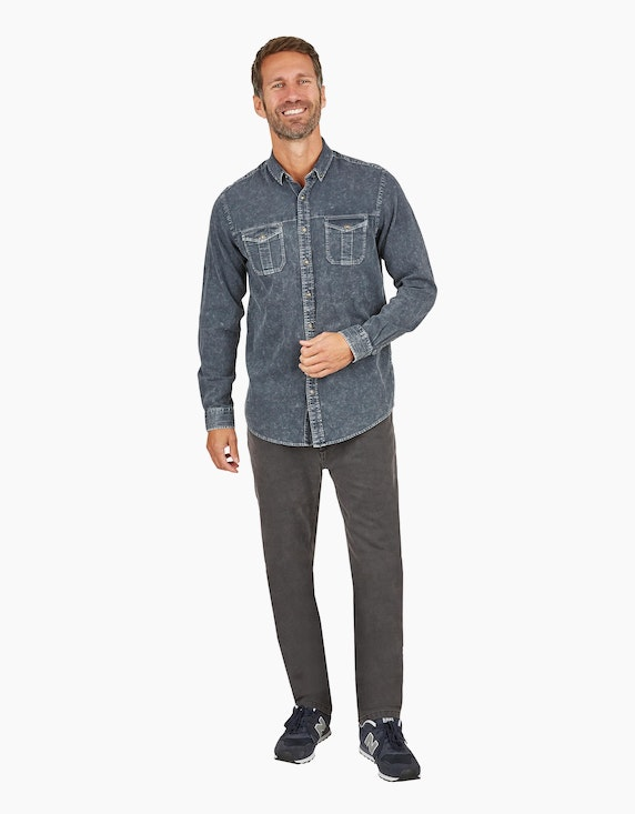 Eagle Denim Hemd mit Button-Down Kragen in Dunkelgrau | ADLER Mode Onlineshop