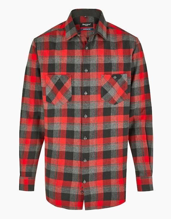 Bexleys man Kariertes Flanellhemd mit zwei Brusttaschen, REGULAR FIT in Rot/Grau   ADLER Mode Onlineshop