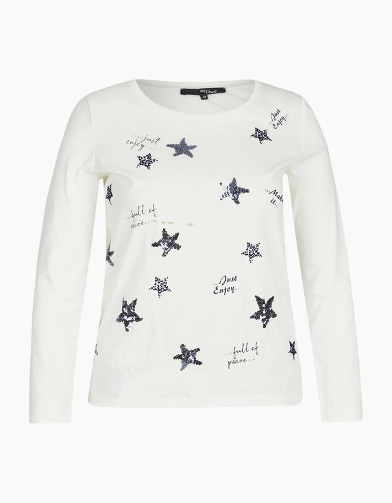 MY OWN Basic-Shirt mit Pailletten-Sternen und Letterprint in Offwhite/Blau | ADLER Mode Onlineshop