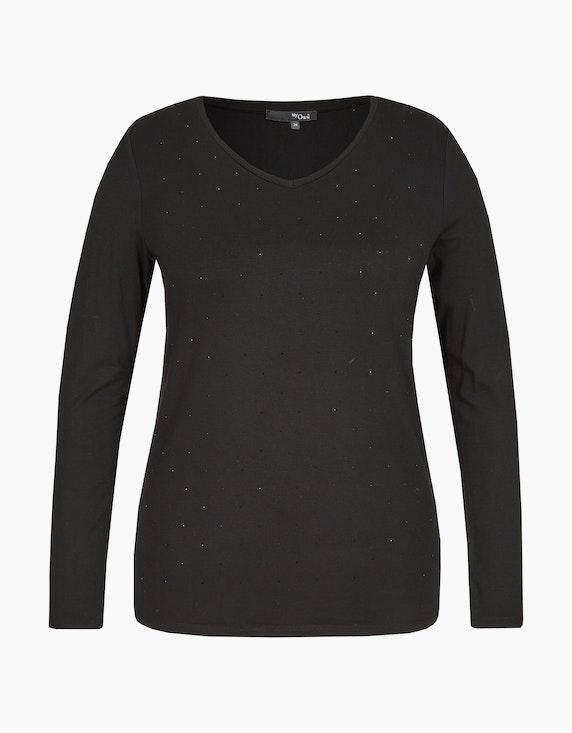 MY OWN Basic-Shirt mit feinen Ziersteinchen in Schwarz | ADLER Mode Onlineshop