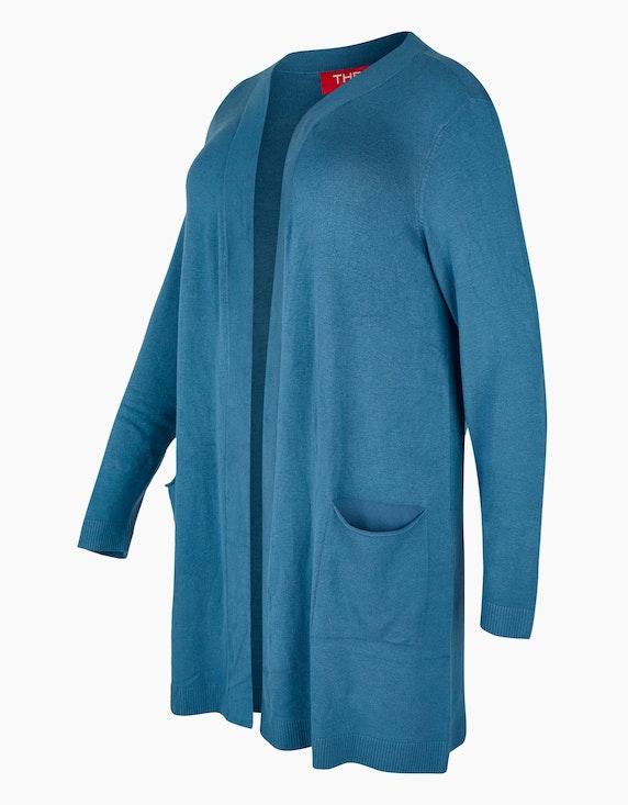 Thea lange Feinstrickjacke mit Schalkragen und Taschen | ADLER Mode Onlineshop
