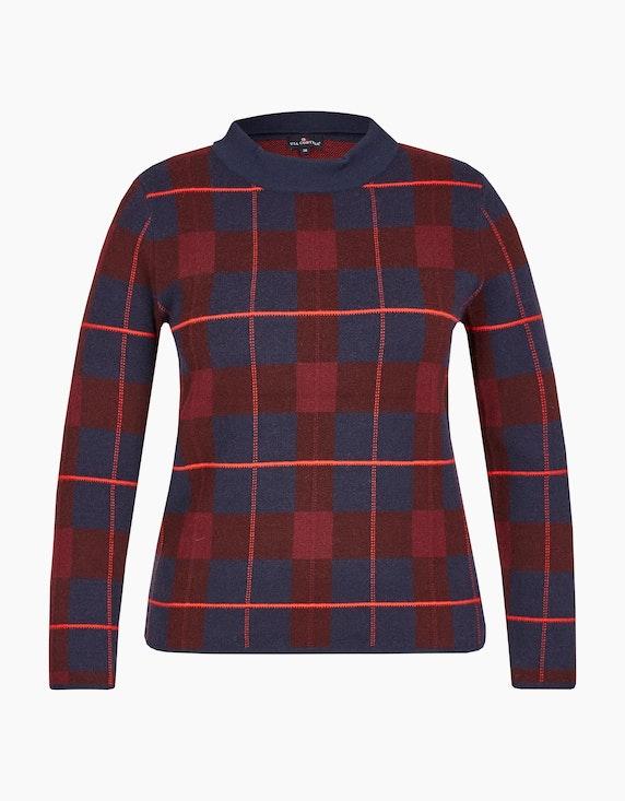 Via Cortesa Shirt in Jacquard-Karo und Stehkragen in Marine/Bordeaux   ADLER Mode Onlineshop