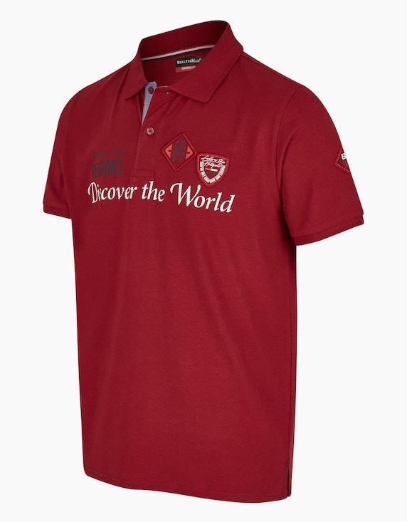 Bexleys man Modernes Poloshirt mit Schriftzug und Badge   ADLER Mode Onlineshop