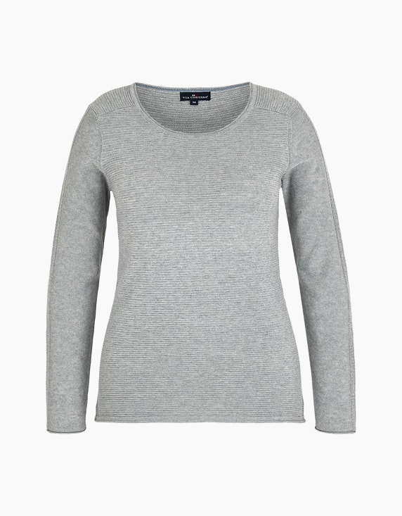 Via Cortesa Strickpullover mit Strukturmuster in Grau | ADLER Mode Onlineshop
