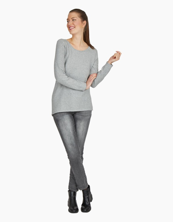 Via Cortesa Denim-Jeanshose mit Ziernieten in Denim Grey | ADLER Mode Onlineshop