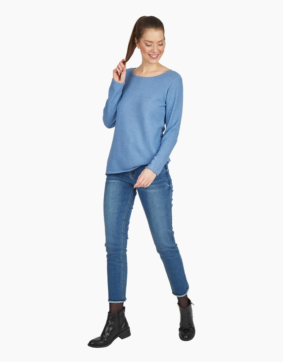 Via Cortesa Strickpullover mit Strukturmuster in Blau | ADLER Mode Onlineshop