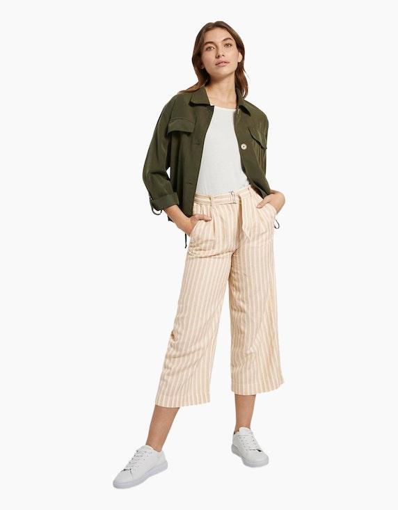 Tom Tailor gestreifte Culotte-Hose mit Leinen-Anteil   ADLER Mode Onlineshop
