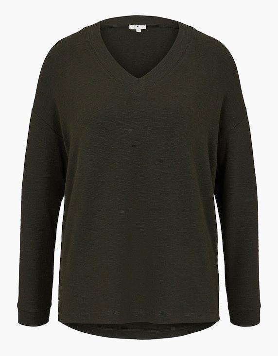 Tom Tailor Langarmshirt mit V-Ausschnitt   ADLER Mode Onlineshop