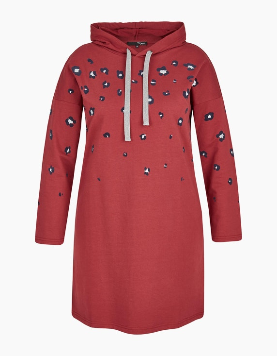 MY OWN Sweat-Kleid mit Kapuze und Leo-Print in Bordeaux | ADLER Mode Onlineshop