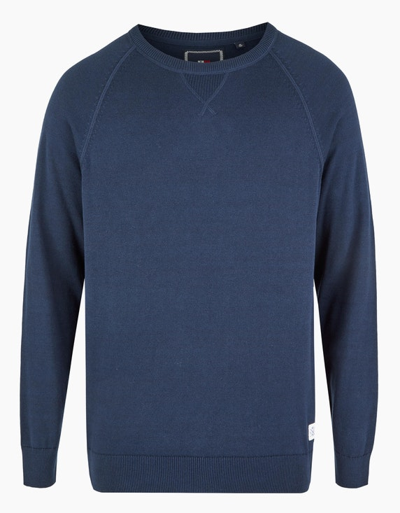 Via Cortesa Strickpullover in Melange in Blau | ADLER Mode Onlineshop