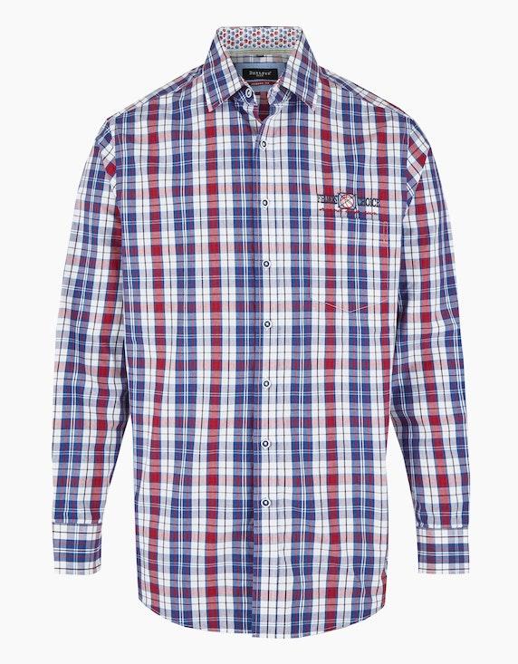 Bexleys man Karohemd mit langen Ärmeln und Details, MODERN FIT in Weiß/Blau/Rot | ADLER Mode Onlineshop