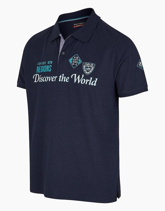 Bexleys man Modernes Poloshirt mit Schriftzug und Badge | ADLER Mode Onlineshop