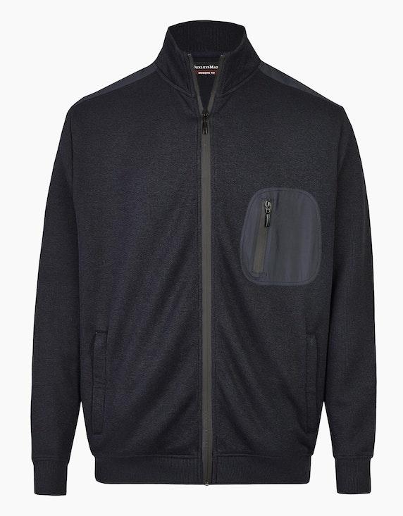 Bexleys man Sweatjacke mit modischen Details in Schwarz | ADLER Mode Onlineshop