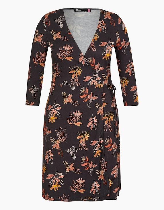 Birgit Schrowange Kollektion Jersey-Wickelkleid mit Blätterdruck in Schwarz/Rot/Gelb/Braun/Beige   ADLER Mode Onlineshop