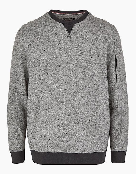 Bexleys man Meliertes Sweatshirt mit Reißverschlusstasche am Ärmel in Schwarz/Grau | ADLER Mode Onlineshop