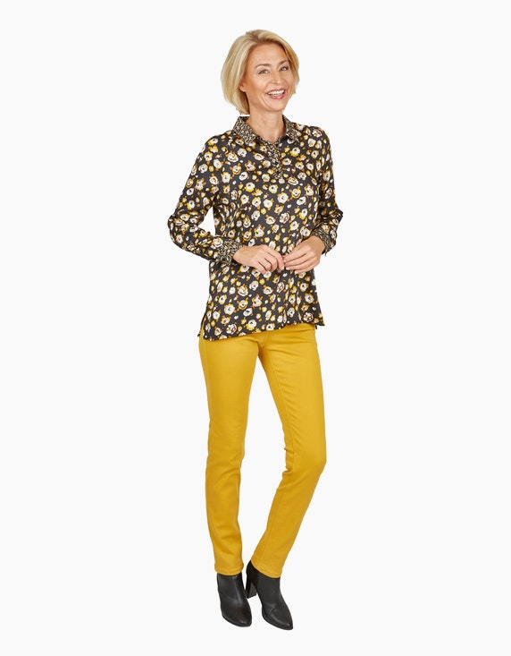 Steilmann Woman Bluse mit Raglanärmeln und Cacharelfalte in Schwarz/Gelb/Beige/Braun   ADLER Mode Onlineshop