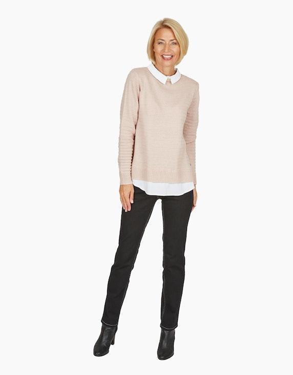 Steilmann Woman Hose mit Galonstreifen in Kontrastfarbe in Schwarz/Rot | ADLER Mode Onlineshop