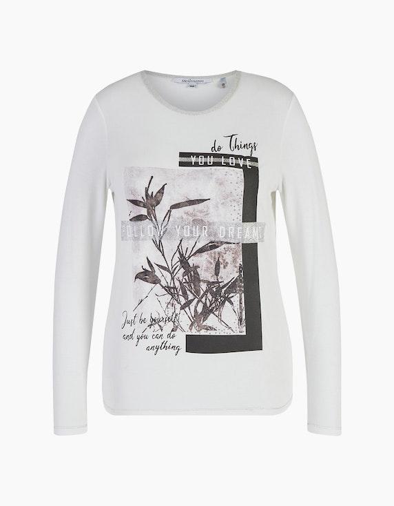 Steilmann Woman Shirt mit Frontdruck und Plättchen-Verzierung in Ecru/Braun/Mauve | ADLER Mode Onlineshop