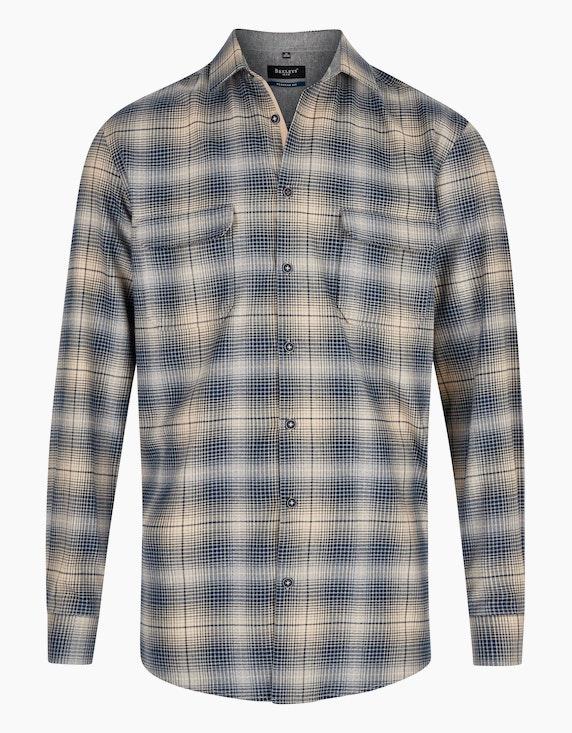 Bexleys man Modern kariertes Twillhemd mit Details, REGULAR FIT in Beige/Blau | ADLER Mode Onlineshop