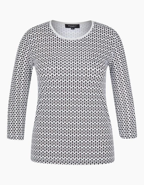 Bexleys woman Gemustertes Shirt mit Rundhalsausschnitt in Weiß/Schwarz | ADLER Mode Onlineshop