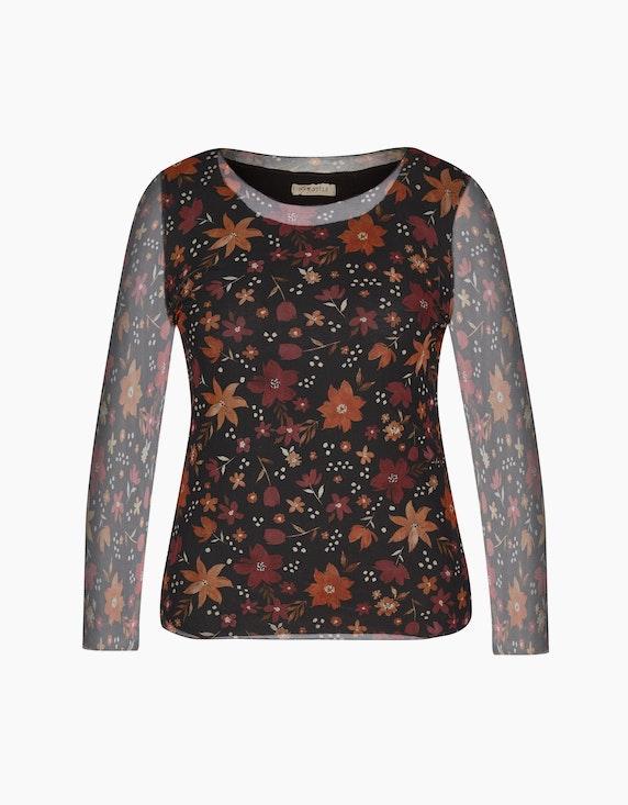 Made in Italy Blusenshirt aus Mesh in Schwarz/Rost/Weinrot | ADLER Mode Onlineshop