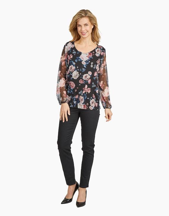 Made in Italy Plissierte Mesh-Bluse | ADLER Mode Onlineshop