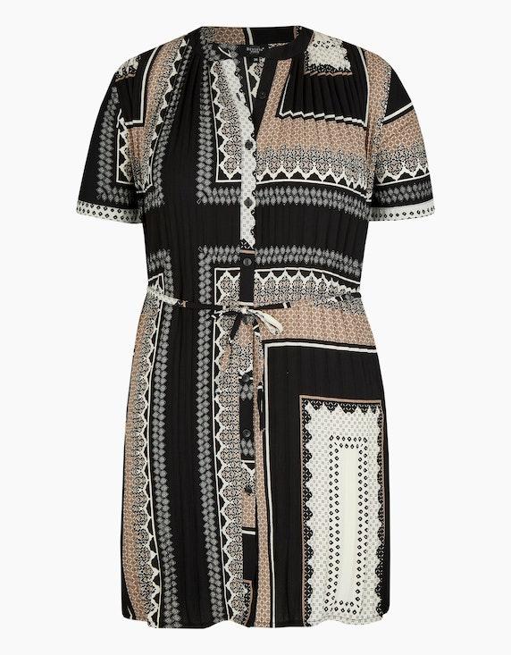Bexleys woman Plissee-Bluse in Longform in Schwarz/Beige | ADLER Mode Onlineshop