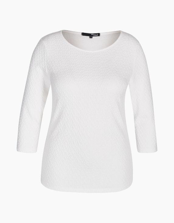MY OWN Struktur-Shirt mit 3/4 Arm in Offwhite | ADLER Mode Onlineshop