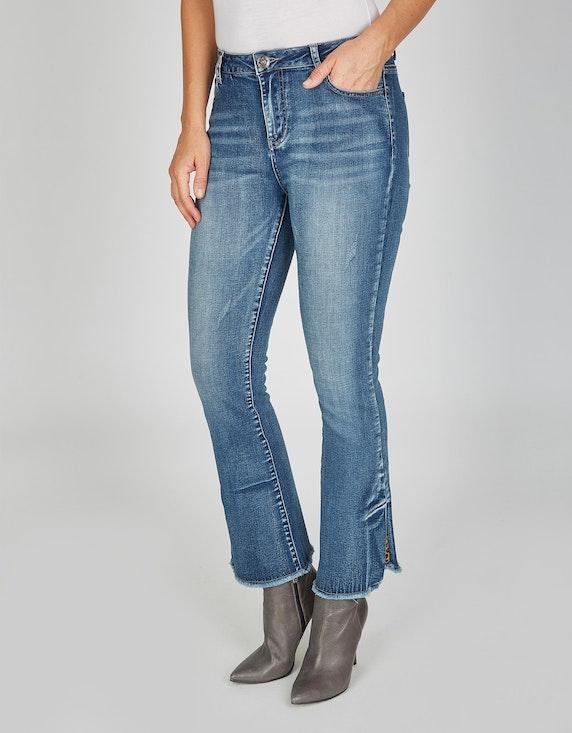 MY OWN 5-Pocket-Jeans mit ausgestelltem Bein und Fransen in Blue Denim   ADLER Mode Onlineshop