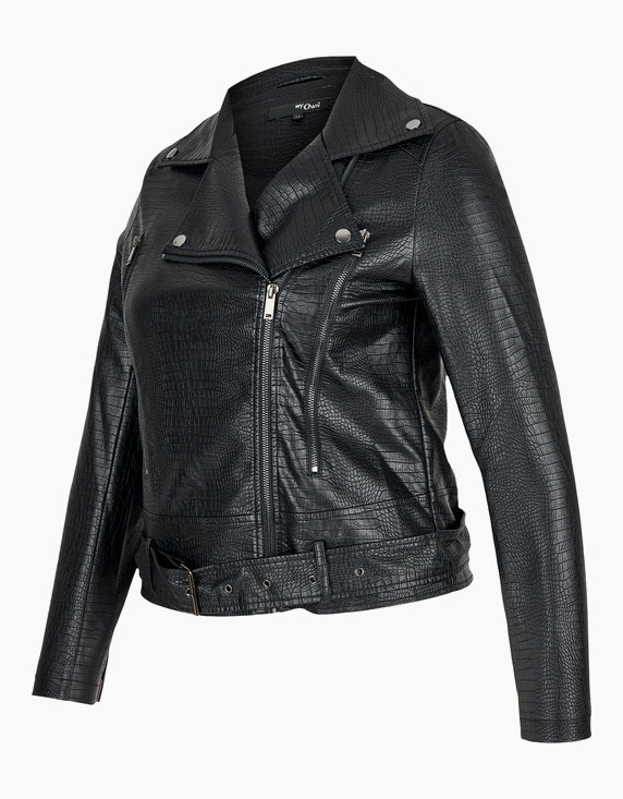 MY OWN Lederimitat-Jacke im Biker-Stil mit Schlangenmuster | ADLER Mode Onlineshop