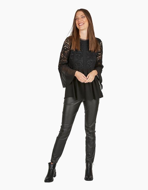 MY OWN Bluse aus Chiffon und Spitze mit Volants in Schwarz   ADLER Mode Onlineshop