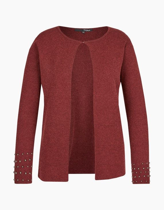 MY OWN flauschige Strickjacke mit Deko-Perlen in Bordeaux | ADLER Mode Onlineshop