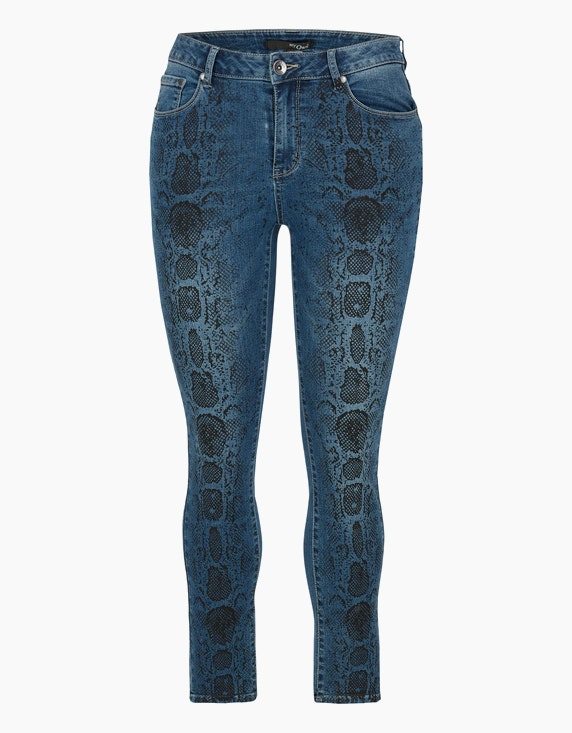 MY OWN Denim-Jeans-Hose mit Schlangen-Print in Denim Blue/Schwarz | ADLER Mode Onlineshop