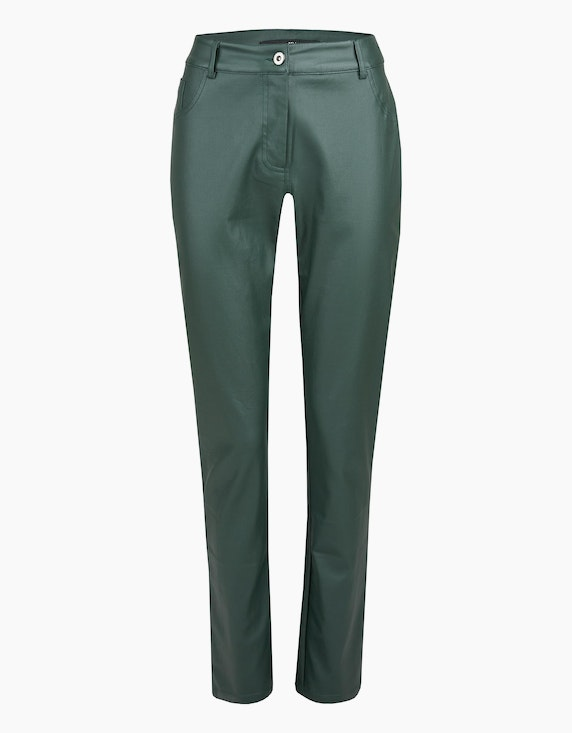 MY OWN Lederimitat-Hose, Slim Fit in Grün | ADLER Mode Onlineshop