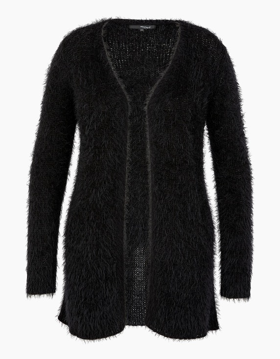 MY OWN Flauschige Jacke in offener Form in Schwarz | ADLER Mode Onlineshop