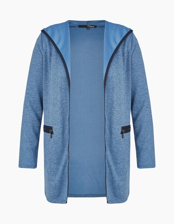 MY OWN Lange Feinstrick-Jacke mit Kapuze in Blau/Marine | ADLER Mode Onlineshop