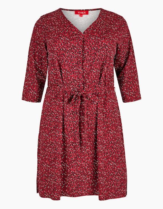 Thea Jersey-Kleid mit floralem Druck in Weinrot | ADLER Mode Onlineshop
