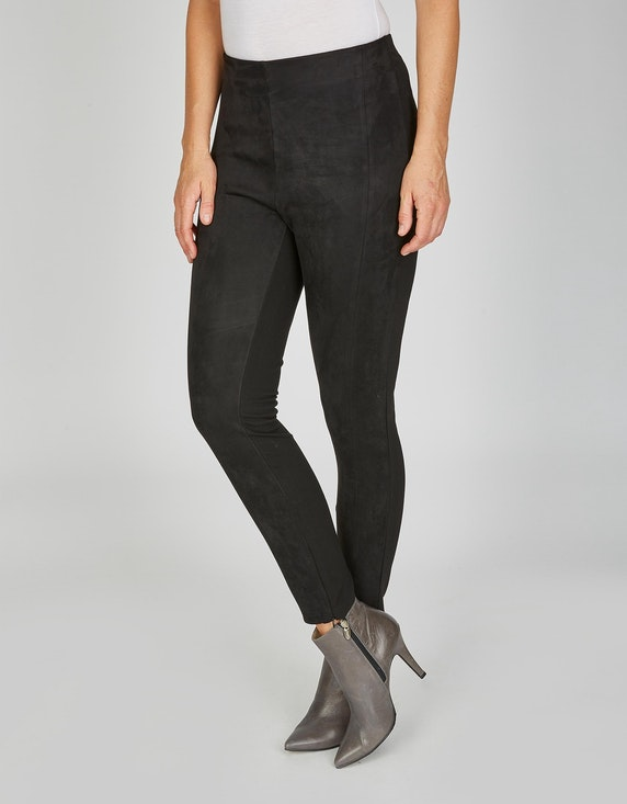 Viventy Velours-Jeggings im Materialmix in Schwarz | ADLER Mode Onlineshop
