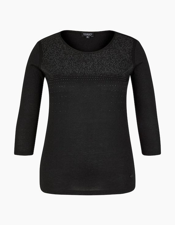 Viventy Leichtes Shirt mit Glitzersteinen in Schwarz | ADLER Mode Onlineshop