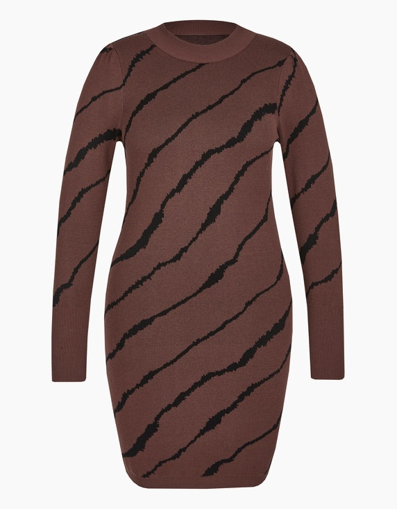 Viventy Enges Strickkleid im Zebra-Look in Braun/Schwarz | ADLER Mode Onlineshop
