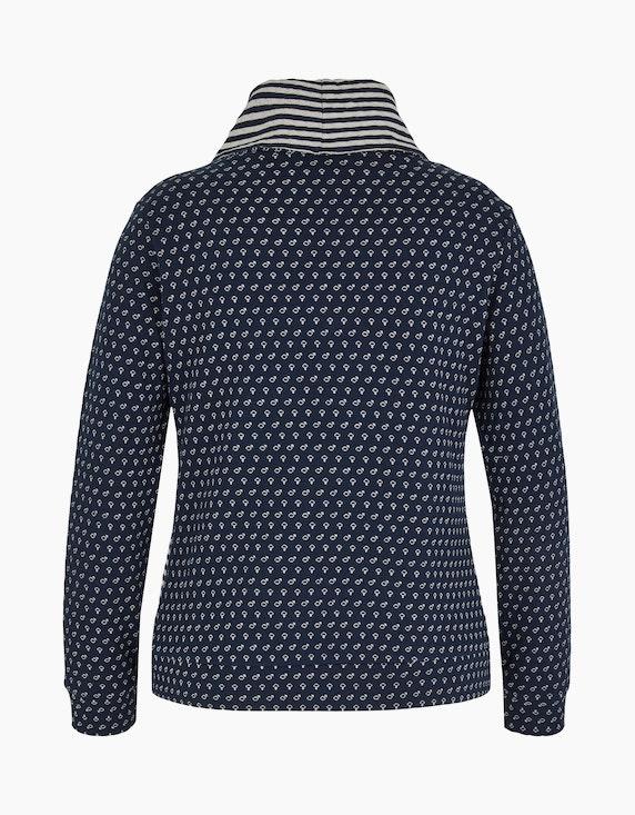 Via Cortesa Sweatshirt mit weitem Rollkragen und Muster-Mix | ADLER Mode Onlineshop