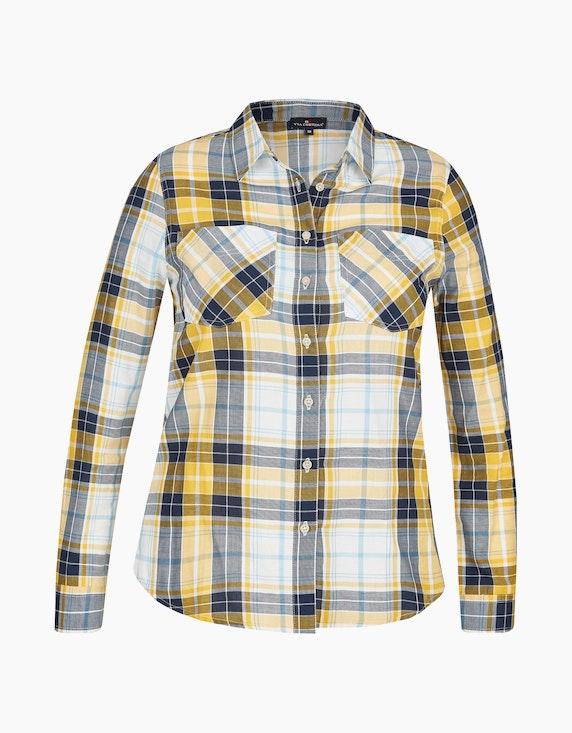 Via Cortesa Karobluse mit Hemdkragen und Brusttaschen, Baumwolle in Gelb/Marine/Blau/Weiß | ADLER Mode Onlineshop