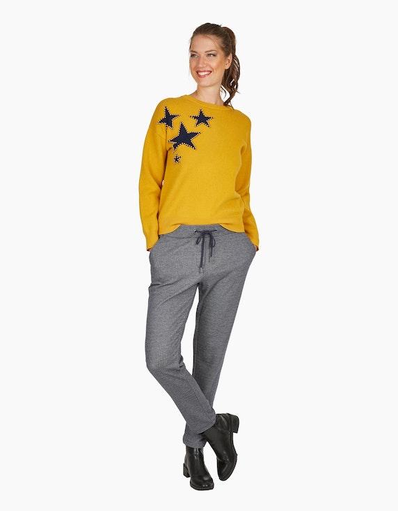 Via Cortesa softer Pullover mit Sternen und Perlen in Senfgelb | ADLER Mode Onlineshop