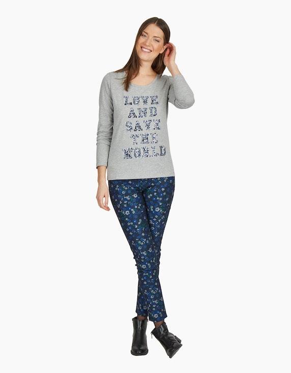MY OWN Shirt mit Letterprint und Effekten in Grau Melange   ADLER Mode Onlineshop