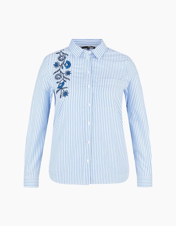 MY OWN Hemdbluse mit Stickerei im Streifen-Look, Baumwolle in Blau/Weiß | ADLER Mode Onlineshop