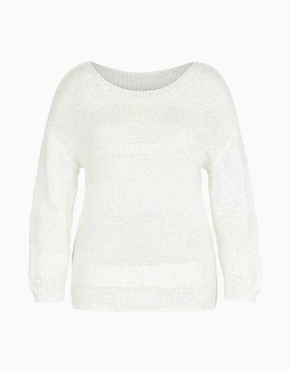 MY OWN Strick-Pullover im Mustermix, reine Baumwolle in Offwhite | ADLER Mode Onlineshop