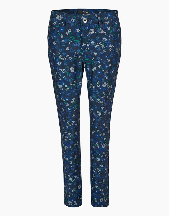 MY OWN Hose mit floralem Allover-Druck in Marine/Blau/Grün/Grau | ADLER Mode Onlineshop