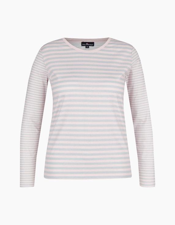 Via Cortesa Weiches Langarmshirt im Streifen-Dessin in Rosa/Grau | ADLER Mode Onlineshop